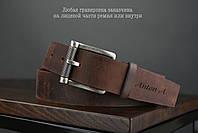 Мужской джинсовый кожаный ремень коньячного цвета размер xl 120 см, фото 2