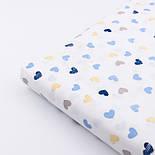 """Сатин  """"Разносторонние сердечки в полоску"""" синие, голубые, бежевые на белом № 2494с, фото 3"""