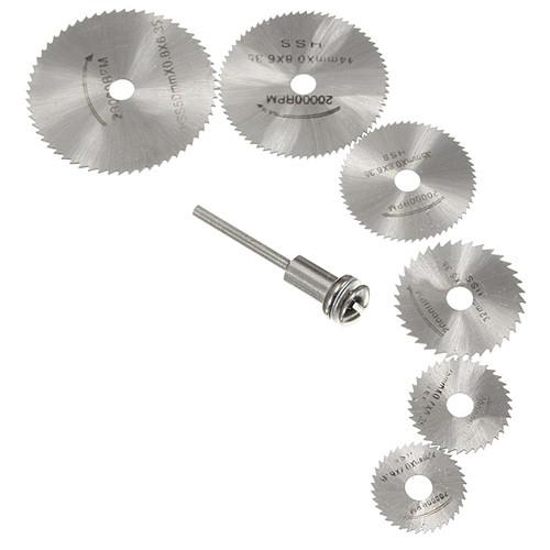 Набор из 6 отрезных кругов, дисковых пил HSS 22-50мм для дремеля гравера 2000-04839