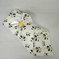 Конверт для новорожденного на выписку летний нежно молочный Панды