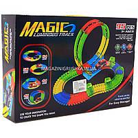 Автотрек Magic Tracks (Мэджик Трек) со светящейся машинкой - 95 деталей (YM-812), фото 2