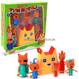 Дитячий ігровий набір фігурок «Три кота і будиночок», 5 фігурок (PS657)