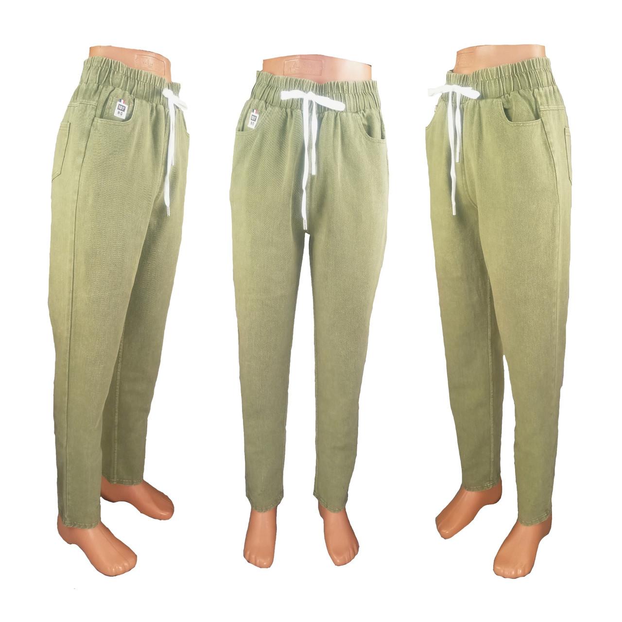 Модные джеггинсы яркие красочные с высокой посадкой на шнуровке на размер S/M-40 зеленый
