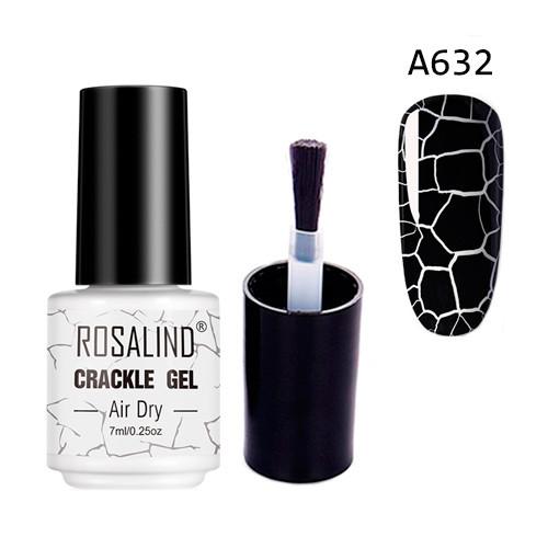 Гель-лак для ногтей маникюра 7мл Rosalind, кракелюр, А632 черный