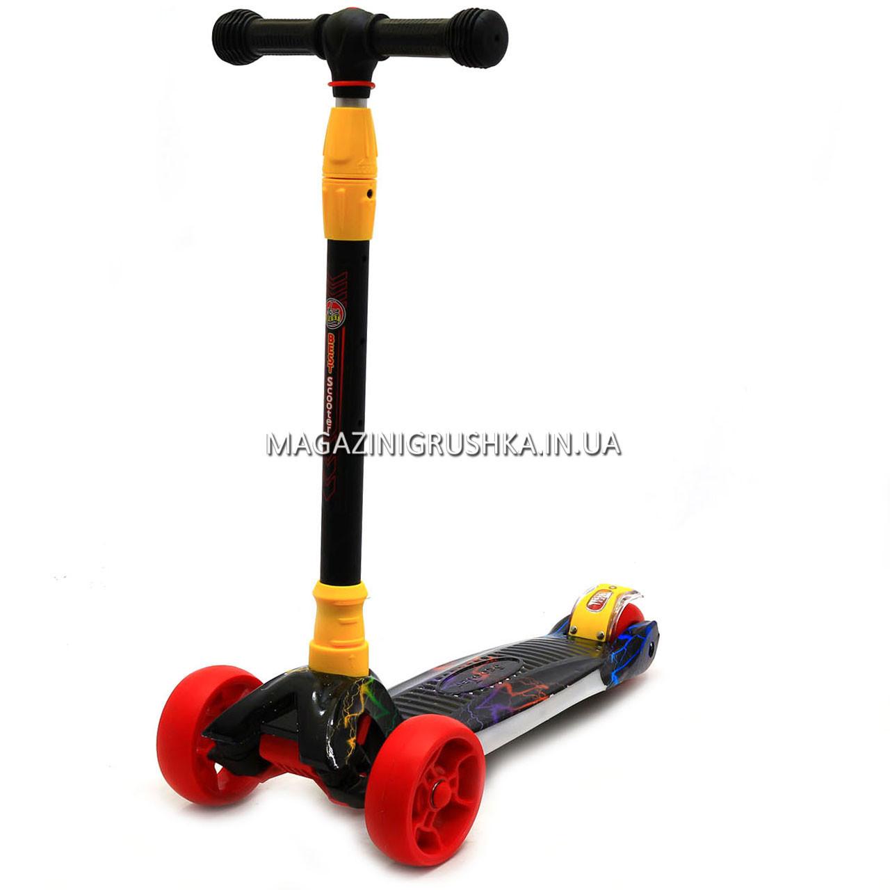 Самокат трехколесный детский 10844 (ПУ колеса, тихие, светящиеся, подсветка деки)