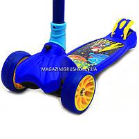 Самокат трехколесный детский 12330 Best Scooter (ПУ колеса, тихие, светящиеся, складывающаяся конструкция), фото 4