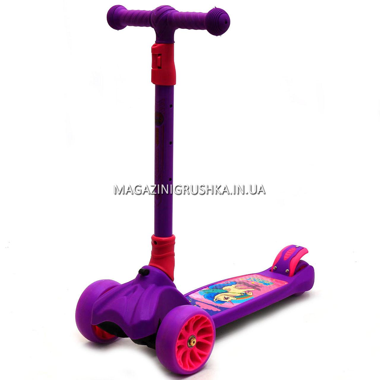 Самокат трехколесный детский 13440 Best Scooter (ПУ колеса, тихие, светящиеся, складывающаяся конструкция)