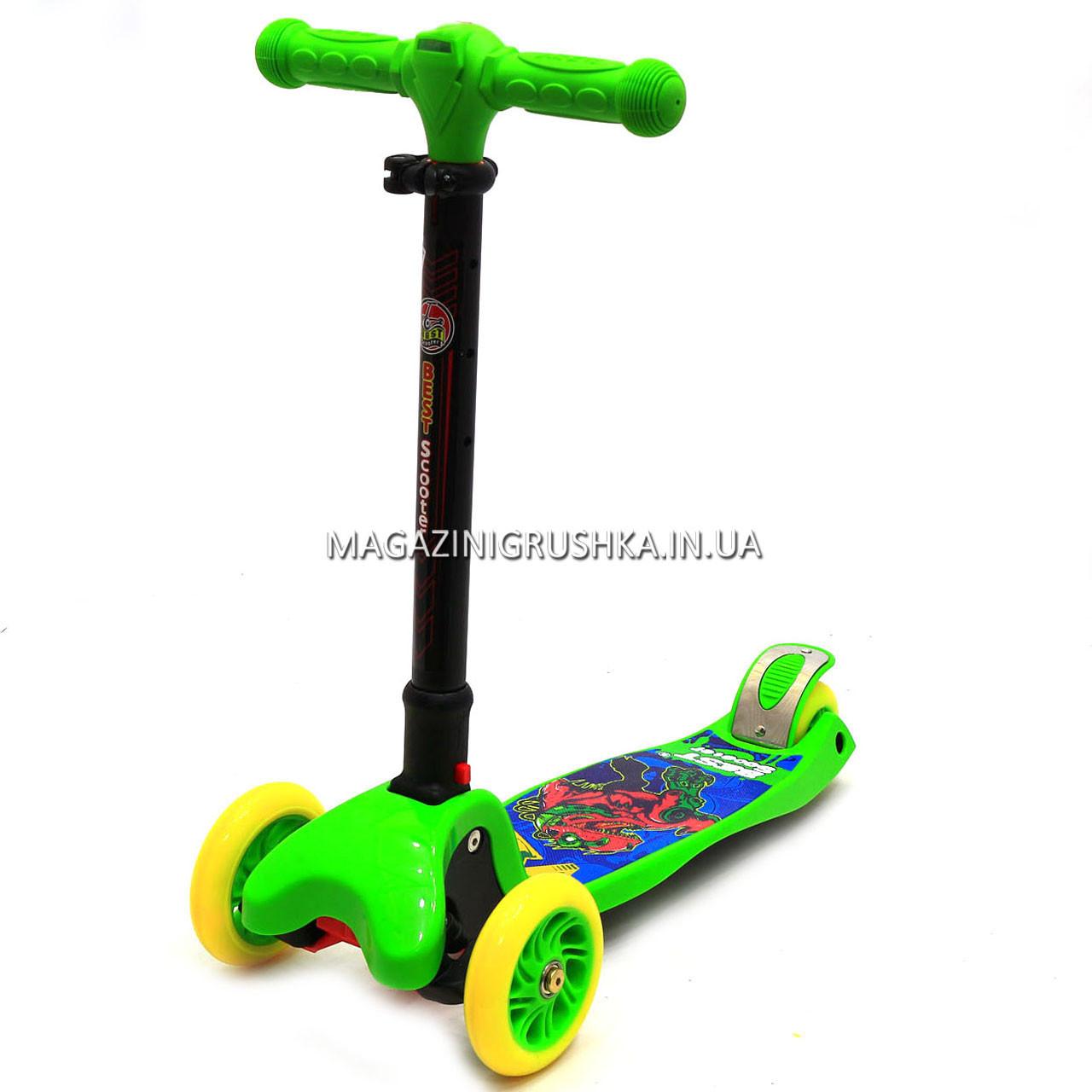 Самокат трехколесный детский C37200 (ПУ колеса, тихие, светящиеся, с фонариком на руле). Самокат для детей