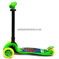 Самокат трехколесный детский C37200 (ПУ колеса, тихие, светящиеся, с фонариком на руле). Самокат для детей, фото 3