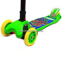 Самокат трехколесный детский C37200 (ПУ колеса, тихие, светящиеся, с фонариком на руле). Самокат для детей, фото 4