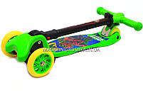 Самокат трехколесный детский C37200 (ПУ колеса, тихие, светящиеся, с фонариком на руле). Самокат для детей, фото 6