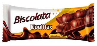 """Вафельна трубочка """"Biscolata DuoMax"""" з горіховим кремом, в шоколаді 12 шт"""