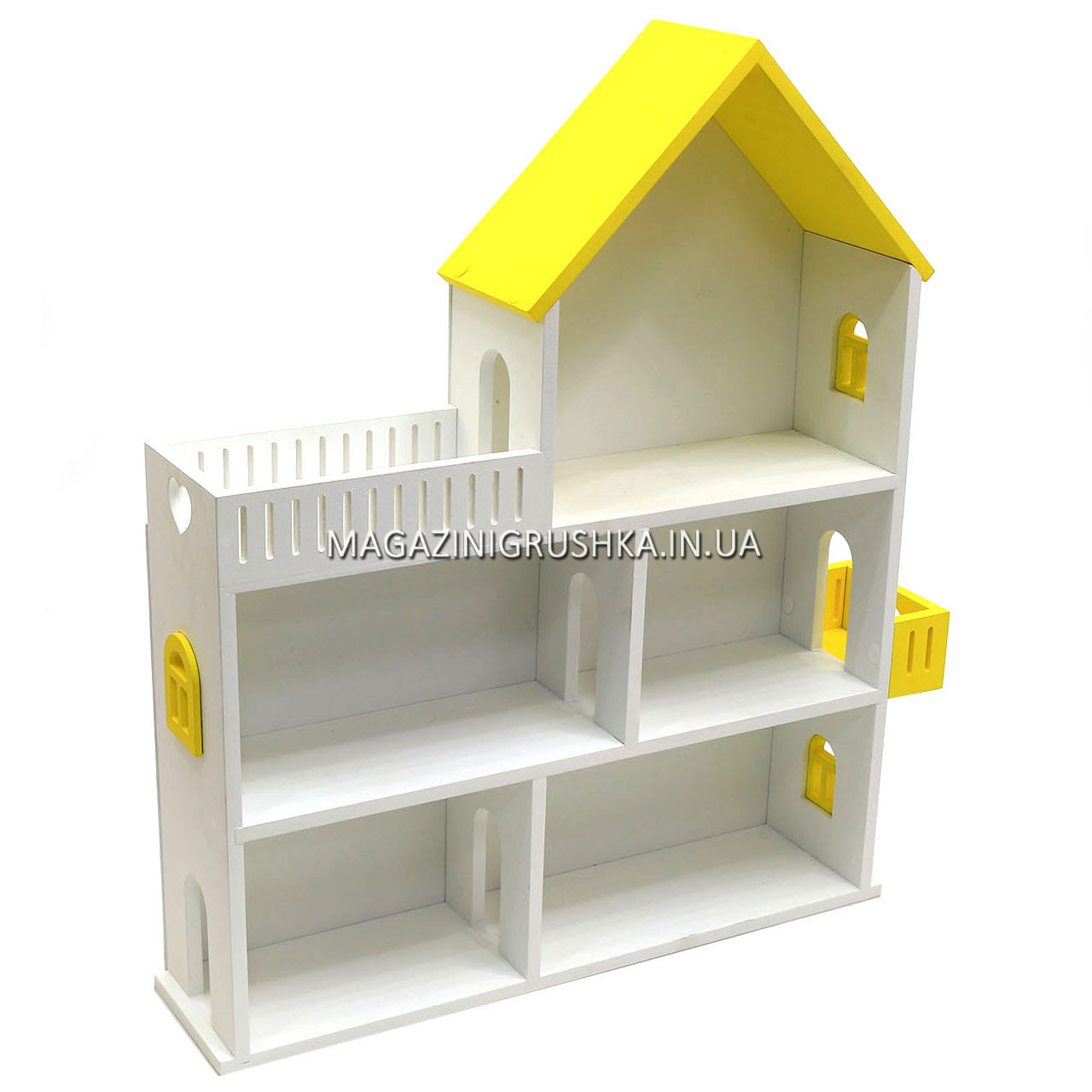 Игрушечный кукольный деревянный домик Мария (желтый). Обустройте домик для кукол LOL