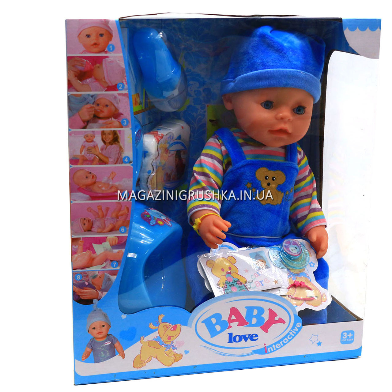 Интерактивная кукла Baby Born (беби бон). Пупс с одеждой и аксессуарами, 8 функций беби борн, 43 см (BL033E)
