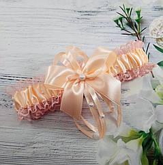 Подвязка для невесты в персиковом цвете