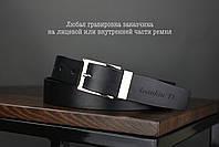 Мужской брючный кожаный ремень черного цвета размер l, фото 2
