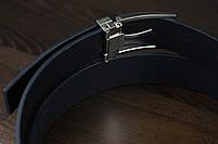 Мужской брючный кожаный ремень черного цвета размер xl, фото 2