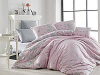 Полуторный размер. Серо-розовое постельное белье из натурального хлопка. NAZENIN Турция Р47