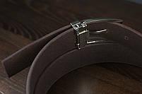 Мужской брючный кожаный ремень коричневый цвета размер s, фото 3