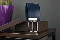Мужской брючный кожаный ремень синий цвета размер s, фото 2