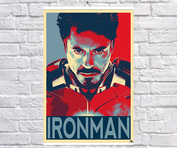 Постер плакат BEGEMOT Поп-Арт  Тони Старк Железный человек  40x61 см (1121225)