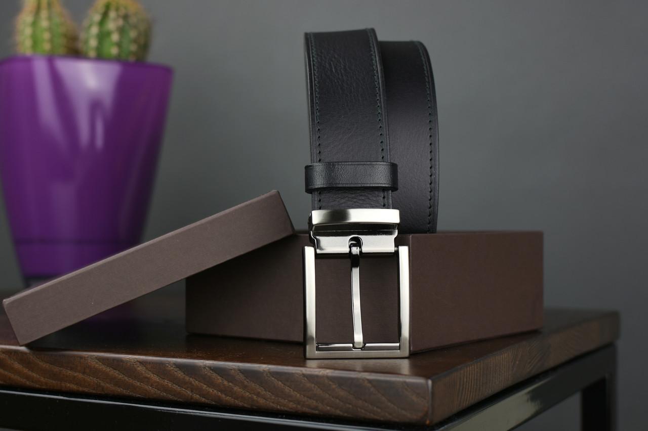 Мужской брючный кожаный ремень прошивной черного цвета размер m 110 см