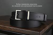 Мужской брючный кожаный ремень прошивной черного цвета размер m 110 см, фото 4