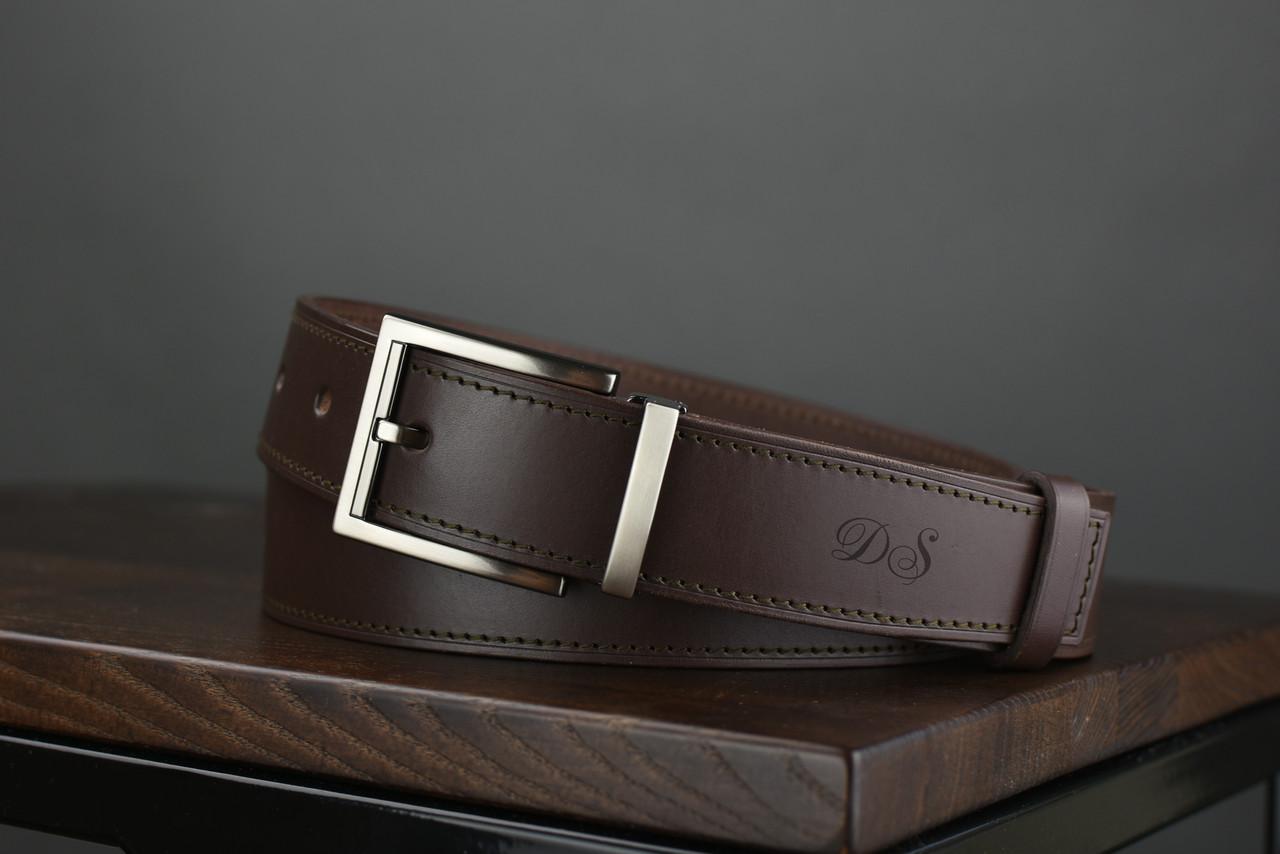 Мужской брючный кожаный ремень прошивной  коричневого цвета размер s 105 см