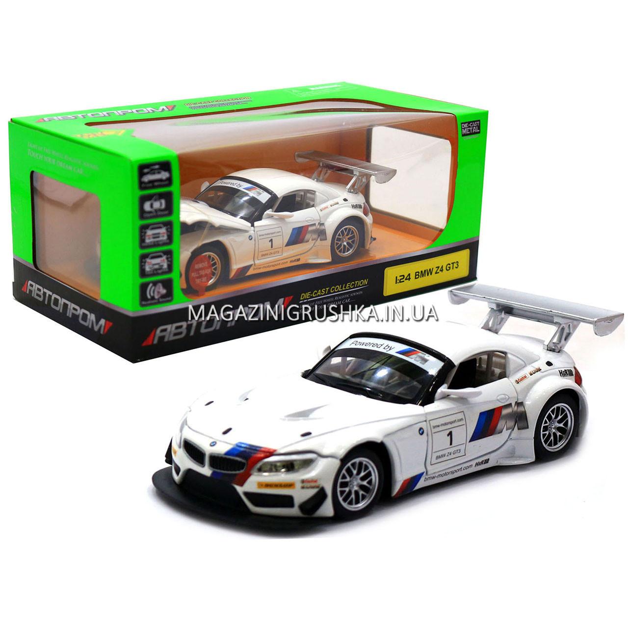 Машинка игровая автопром «BMW Z4 GT3», 18 см, свет, звук, двери открываются, белый (68251A)