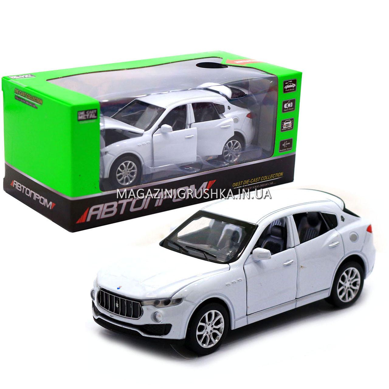 Машинка ігрова автопром «Maserati levante», 14 см, світло, звук, двері відкриваються, білий (7641)