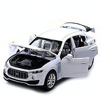 Машинка игровая автопром «Maserati levante», 14 см, свет, звук, двери открываются, белый (7641), фото 6