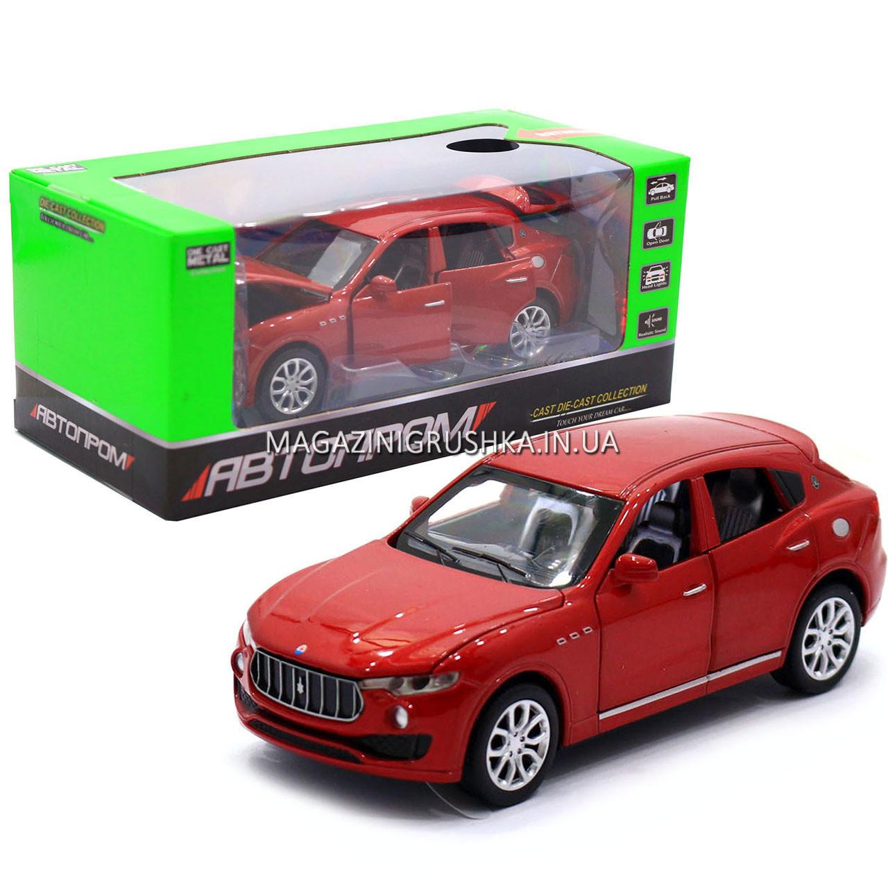 Машинка ігрова автопром «Maserati levante», 14 см, світло, звук, двері відкриваються, червоний (7641)