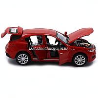 Машинка ігрова автопром «Maserati levante», 14 см, світло, звук, двері відкриваються, червоний (7641), фото 8