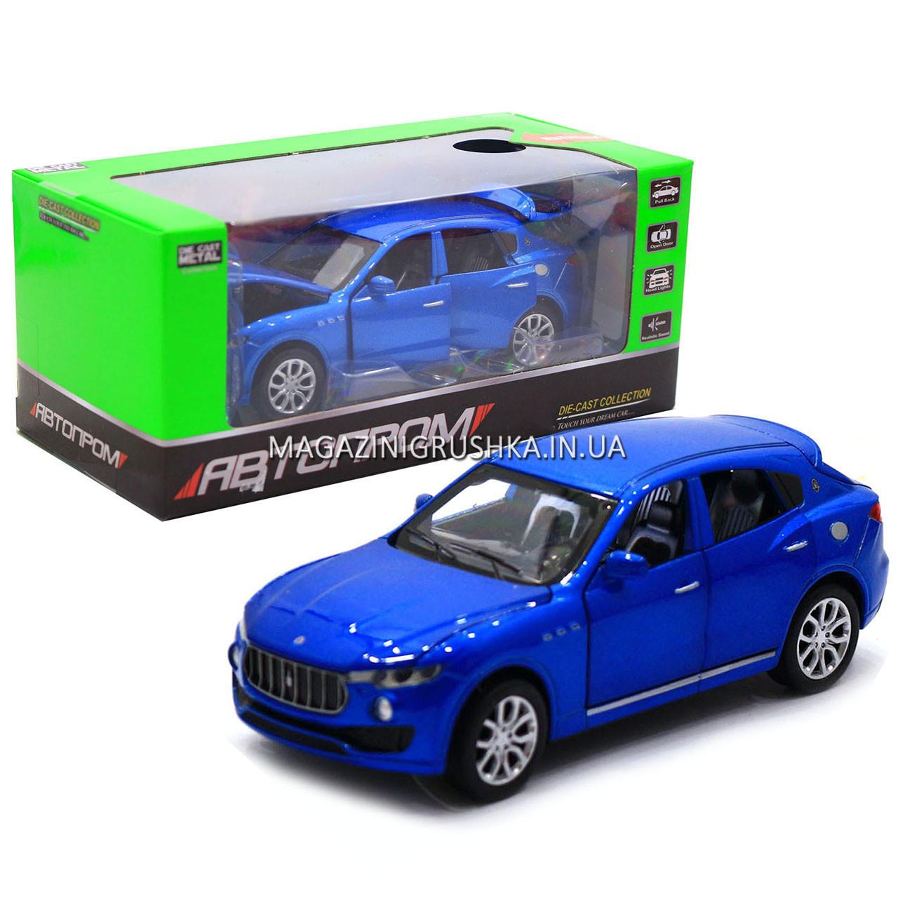 Машинка ігрова автопром «Maserati levante», 14 см, світло, звук, двері відкриваються, синій (7641)