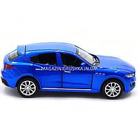 Машинка ігрова автопром «Maserati levante», 14 см, світло, звук, двері відкриваються, синій (7641), фото 3