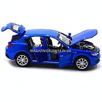 Машинка ігрова автопром «Maserati levante», 14 см, світло, звук, двері відкриваються, синій (7641), фото 5