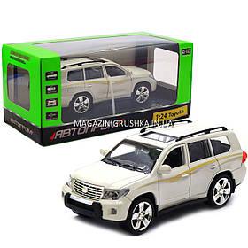 Машинка ігрова автопром «Toyota» Тойота джип, метал, 18 см, Білий (світло, звук, двері відкриваються) 7662