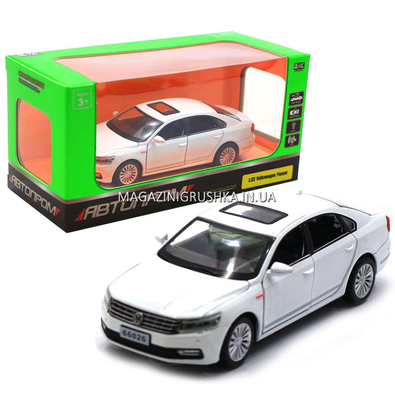 Машинка игровая автопром «Volkswagen Passat», 14 см, свет, звук, двери открываются, белый (6604)