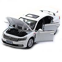 Машинка игровая автопром «Volkswagen Passat», 14 см, свет, звук, двери открываются, белый (6604), фото 6