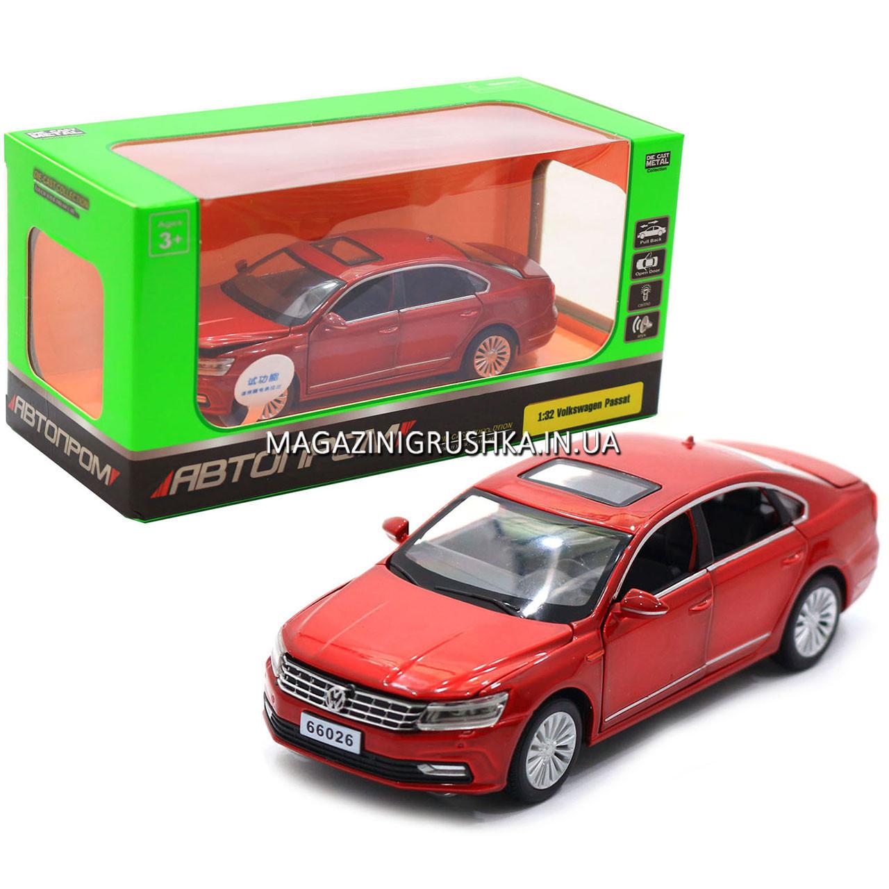Машинка ігрова автопром «Volkswagen Passat», 14 см, світло, звук, двері відкриваються, червоний (6604)