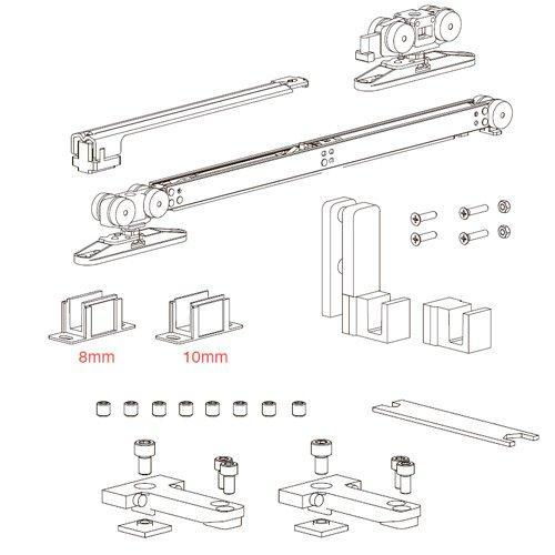 К-т механізмів Vetro 40, телескоп (тип А), доводчик+стопор (скло 8/10мм), 80кг (хв. 670мм)