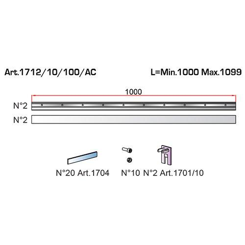 К-т власників Vetro 40, скло 10мм (1000-1099мм), алюміній