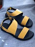 Яркие желтые босоножки из натуральной кожи, фото 3