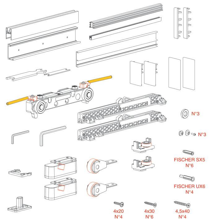 К-т системи MAGIC/1800 (прихований.мех-м) на 1-двері скло 10мм (+3 заглушки), 80кг, L=1800мм