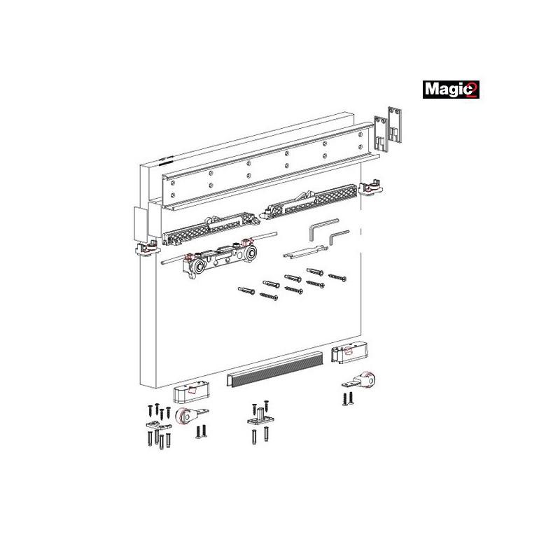 К-т системи MAGIC2/1100 (прихований механізм) на одну двері, 80кг, L=1100 мм