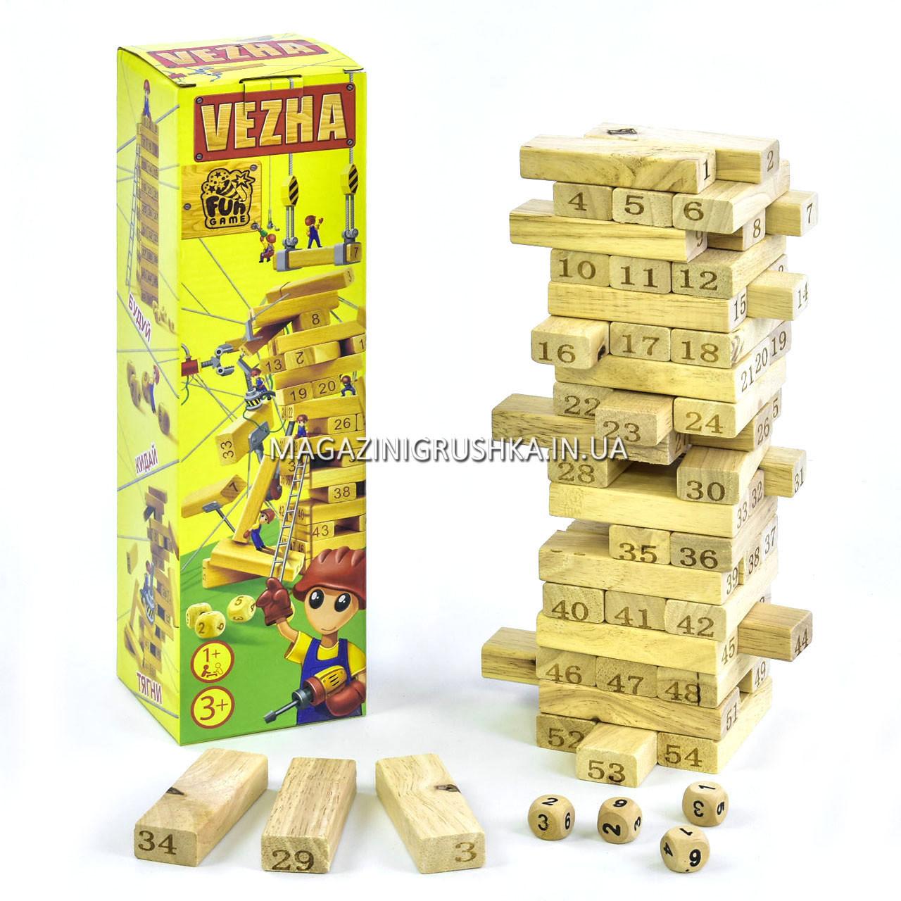 Настольная игра башня (Вежа) Vega (Вега). Версия игры Дженга 54 детали