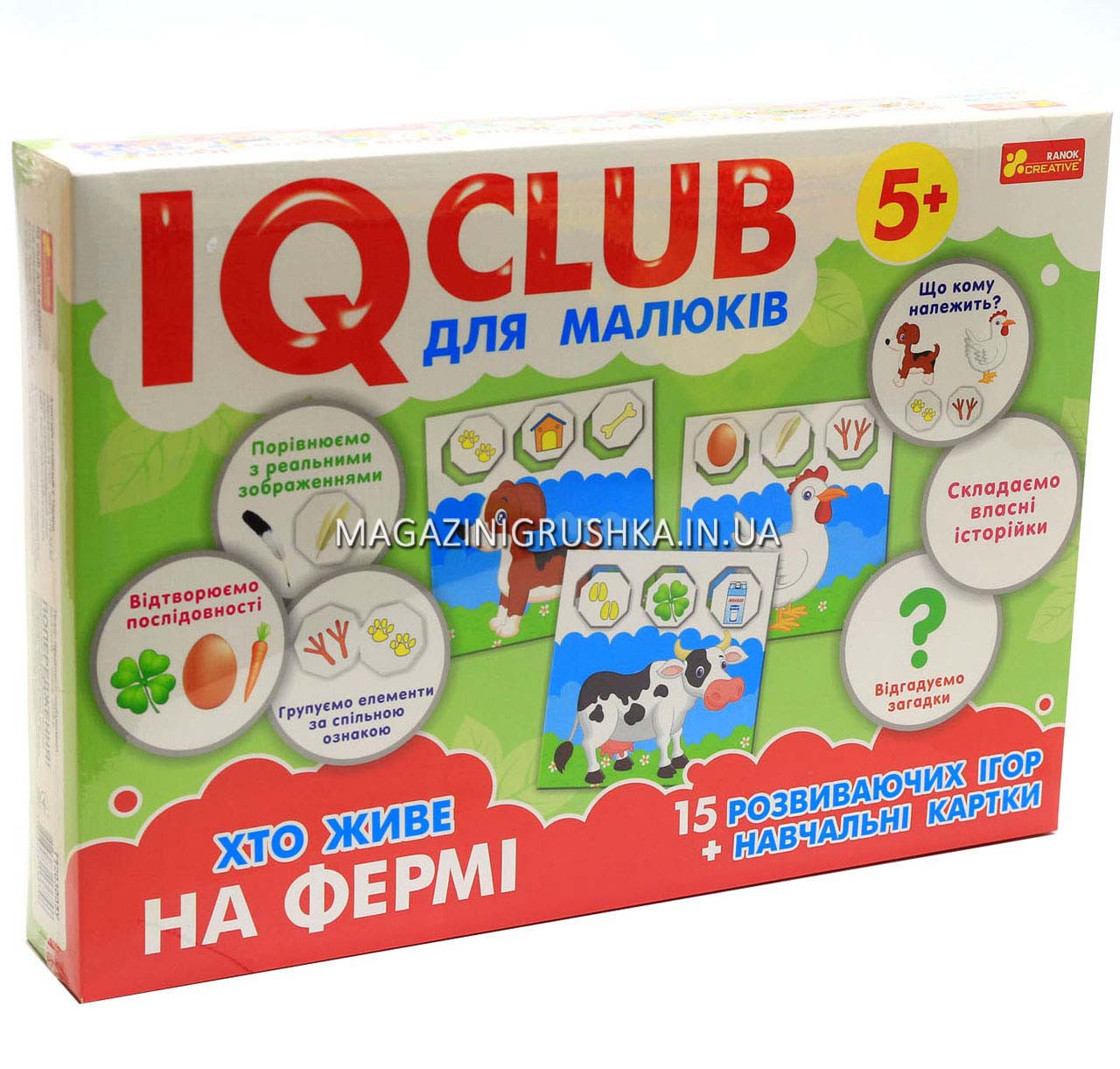Обучающие пазлы IQ-club «Кто живет на ферме» укр Ранок креатив 13203005У