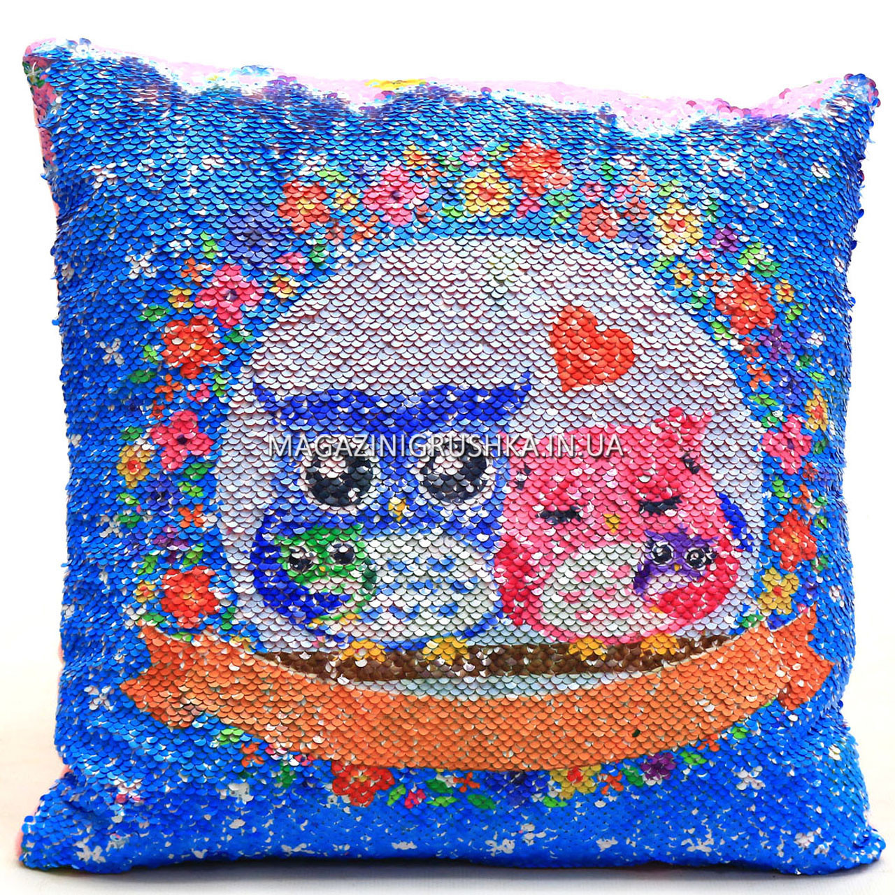 Подушка дитяча сувенірна Копиця з паєтками, 38х38х10 см, фламінго-сови, для дівчинки (24971-1)