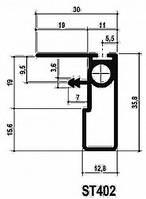 Профіль-ручка ST402 з вирівнювачем TN601 L=2593мм, хром полір. (для дверей 19мм)