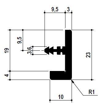 Профіль-ручка замикає ST 232 L=2550мм, алюміній (для 19мм)